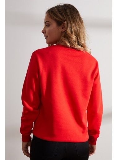 Setre Antrasit Bisiklet Yaka Uzun Kol Baskılı Sweatshirt Kırmızı